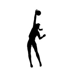 female volleyball player jumping black silhouette vector image