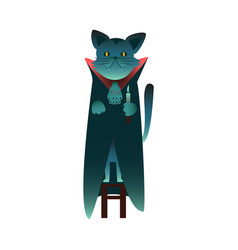 flat halloween witch black cat with cape vector image