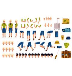 flat man tourist travel bag creation set vector image