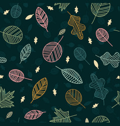floral nature leaves seamless pattern hand vector image