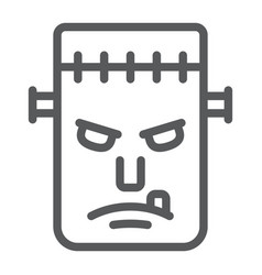 frankenstein line icon monster and halloween vector image