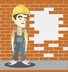 friendly builder with helmet vector image