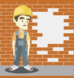 Friendly builder with helmet vector