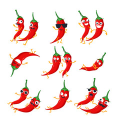 funny red chili peppers - isolated cartoon vector image