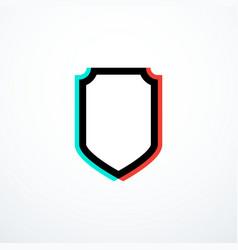 glitch shield icon vector image