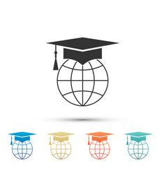 graduation cap on globe icon isolated on white vector image