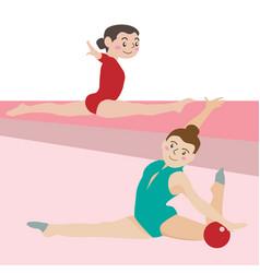 Gymnastic athletic sport cartoon set vector