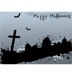 Halloween background with graves vector image
