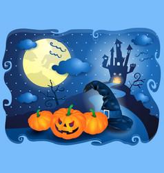 halloween in blue vector image