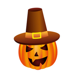 halloween party pumpkin with hat character vector image