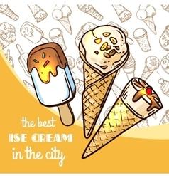 hand drawn ice cream vector image