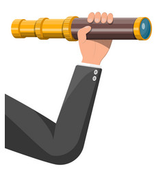 Hand with spyglass looking for opportunities vector
