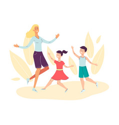 happy mother with children dancing and jumping vector image