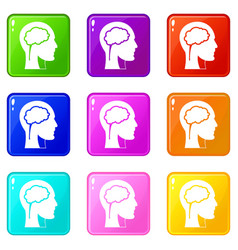 Head with brain icons 9 set vector