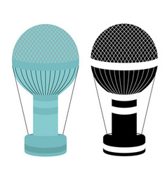Hot air balloon colorful and black and white vector