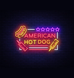 Hot dog logo in neon style design template hot vector