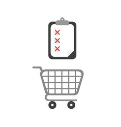 icon concept of shopping cart with clipboard and vector image