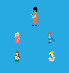 Icon flat mam set of woman mother kid and other vector