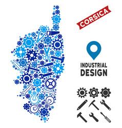 Industrial corsica france island map mosaic vector