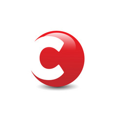 initial letter c red color logo vector image