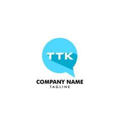 Initial letter ttk chat logo template design vector