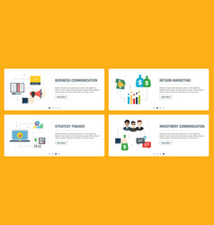 internet banner set business communication and vector image