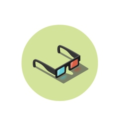 Isometric of black 3d glasses stereo cinema icon vector image