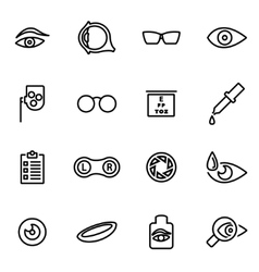 Line optometry icon set vector
