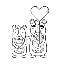 love and animals cartoons vector image