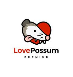 Love possum logo mascot character cartoon vector