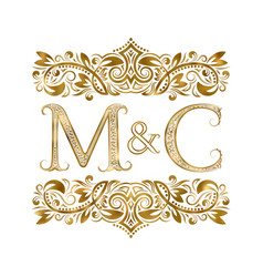 m and c vintage initials logo symbol letters vector image