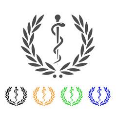 Medical honor laurel wreath flat icon vector