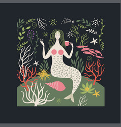 Mermaid and sea life vector