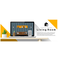 modern living room interior design background vector image