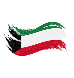 National flag of kuwait designed using brush vector