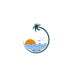 natural beach logo template design emblem vector image