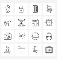 Pack 16 universal line icons for web vector