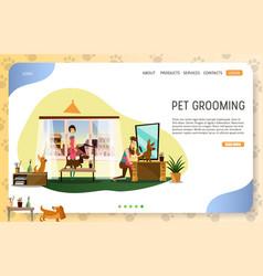 Pet grooming landing page website template vector