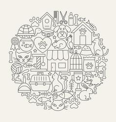 pet shop line icons circle vector image