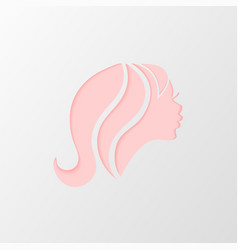 pink silhouette a girl in profile with hair vector image