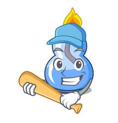 Playing baseball alcohol burner character cartoon vector