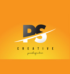 Ps p s letter modern logo design with yellow vector