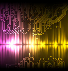 purple-yellow wave abstract equalizer and circuit vector image