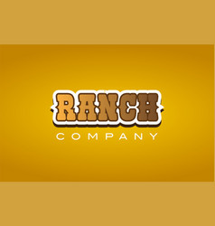ranch western style word text logo design icon vector image