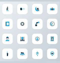 Religion icons colored set with clock holy book vector
