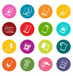 Repair phones fix icons set colorful circles vector
