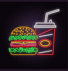 Retro neon burger and cola sign on brick wall vector