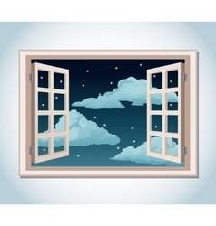room window night sky stars clouds vector image