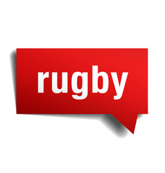 Rugby red 3d speech bubble vector