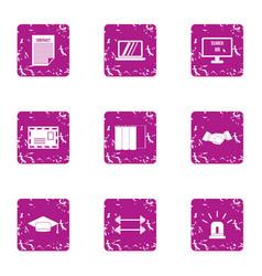 scholarly icons set grunge style vector image